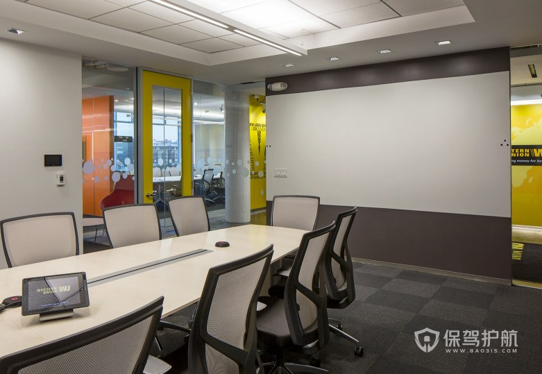 现代简约风PPT会议室装修效果图