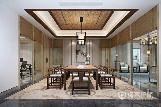新中式风格办公会议室装修效果图