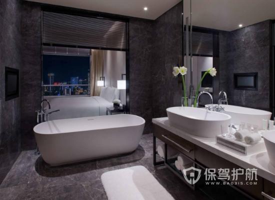 現代摩登高端酒店客房浴室裝修效果圖…