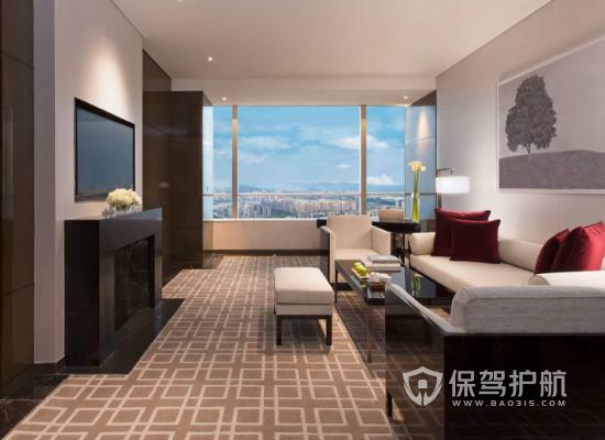 现代摩登高端酒店房间客厅装修效果图