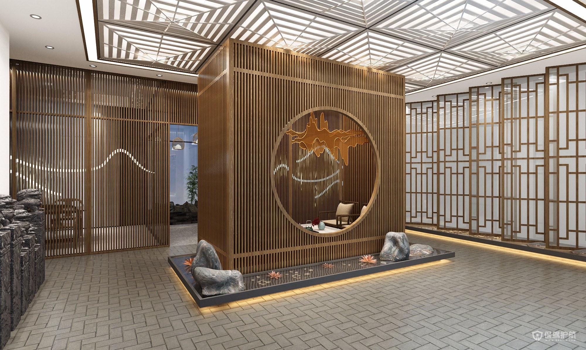 中式办公室景观装修效果图