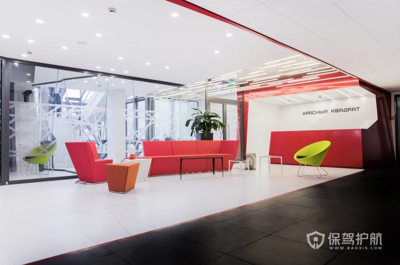 后现代风格办公室前台接待区装修效果图