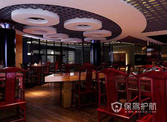 中式风格特色火锅店吊顶装修效果图