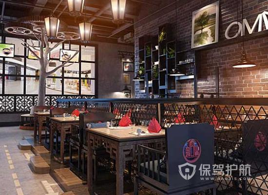 中式风格特色火锅店桌椅设计效果图