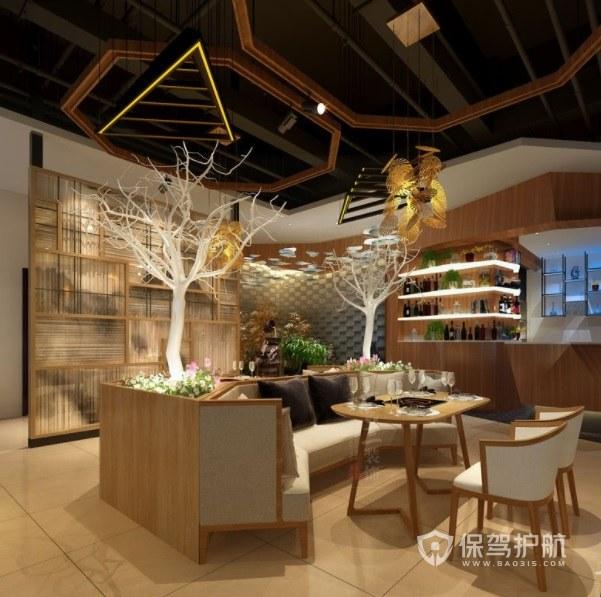 北欧风混搭原木创意风餐厅装修效果图
