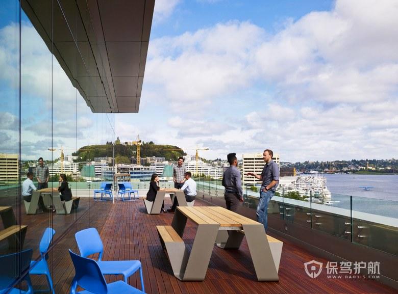 现代简约风格办公室露台休闲区装修效果图