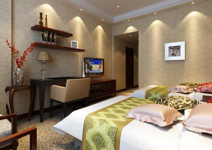 现代原木风酒店房间温馨装修效果图
