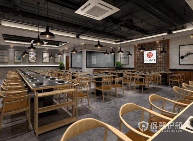 工业混搭原木风餐厅装修效果图