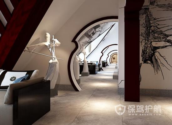 古典风格茶馆走廊设计效果图