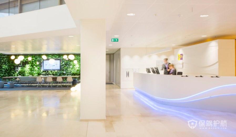 现代美式风格办公室前台装修效果图