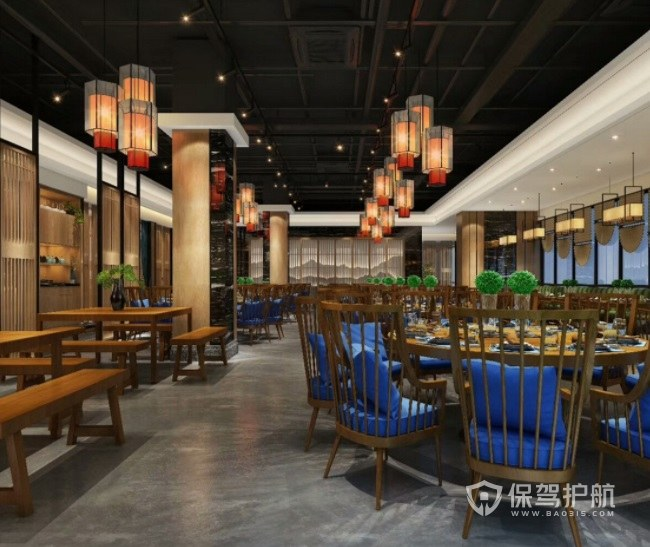 中式混搭工业风餐厅装修效果图
