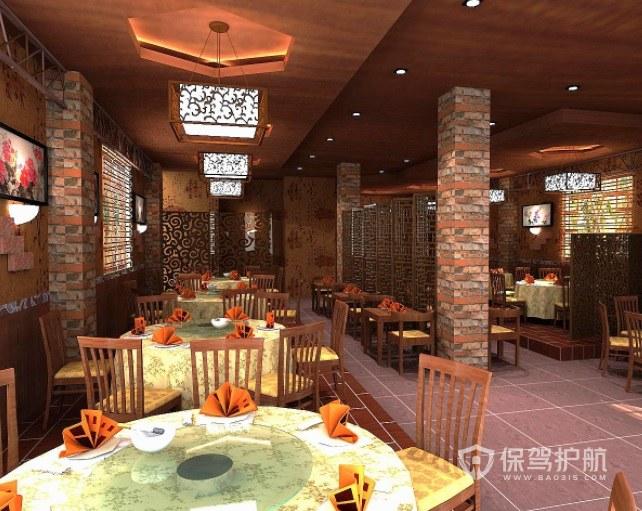 中式复古风餐厅装修效果图