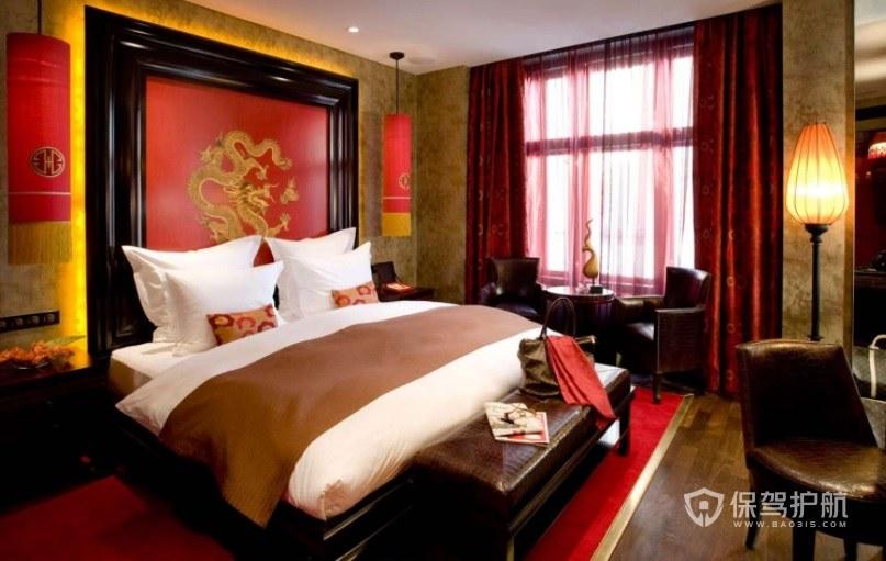 中式复古婚房酒店房间装修效果图