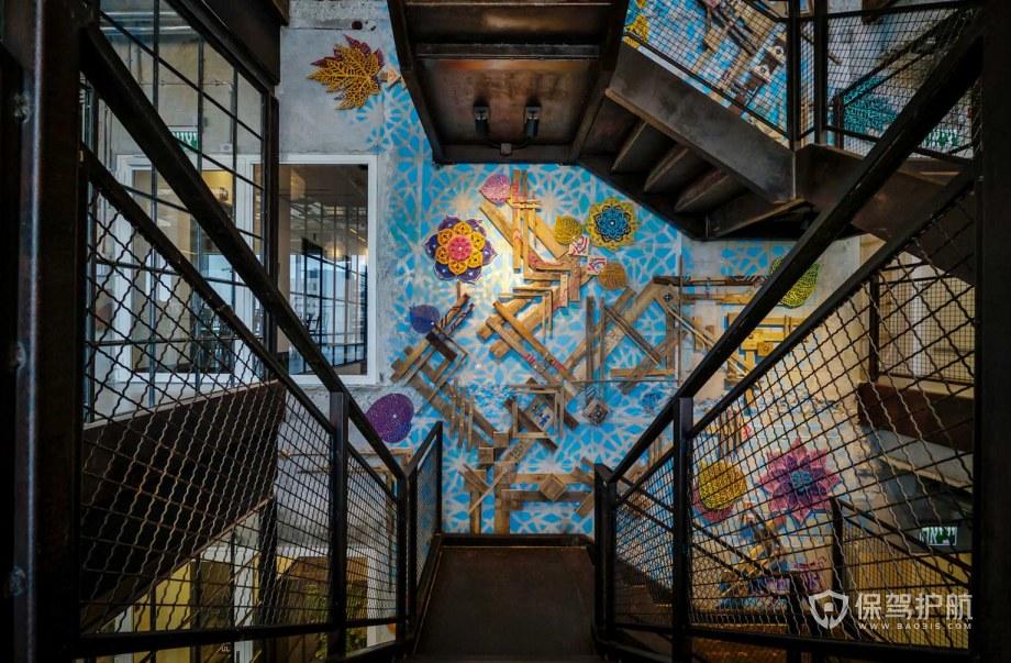 创意工业风办公室楼梯装修效果图