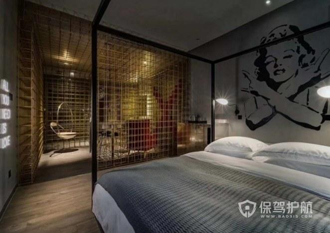 日式创意工业风酒店房间装修效果图