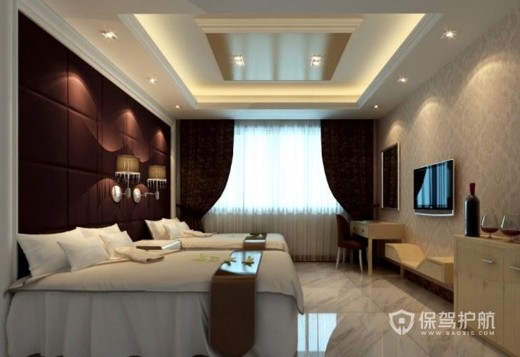 欧式简约酒店房间装修效果图