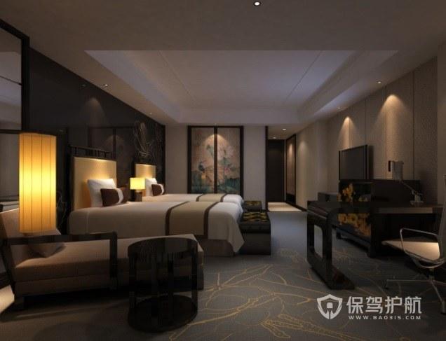 中式新古典风酒店房间装修效果图