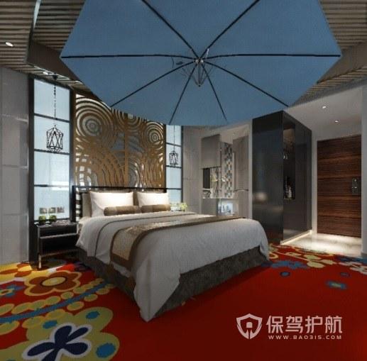 中式混搭北欧风酒店房间装修效果图
