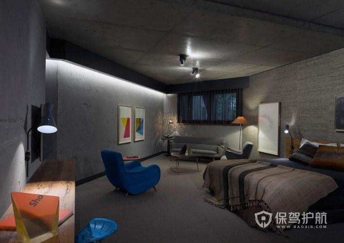 现代工业风酒店房间装修效果图