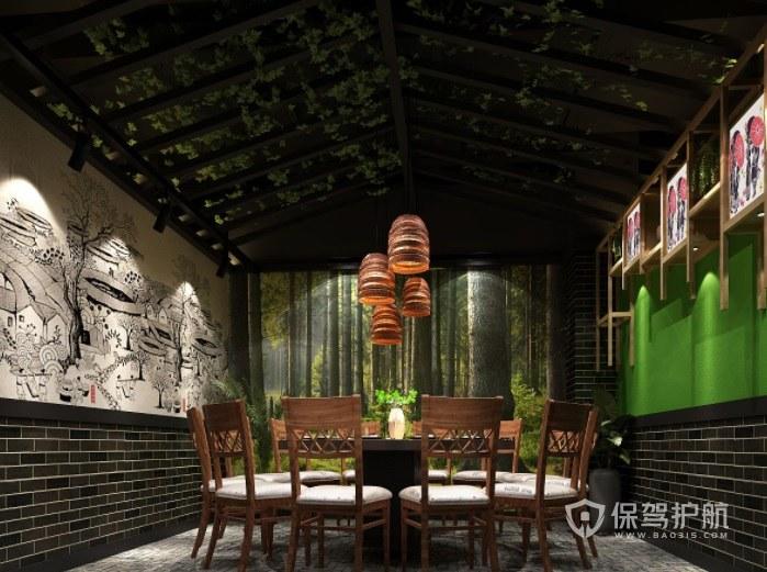 中式田园创意餐厅装修效果图