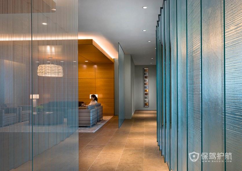 现代时尚办公室走廊接待区装修效果图