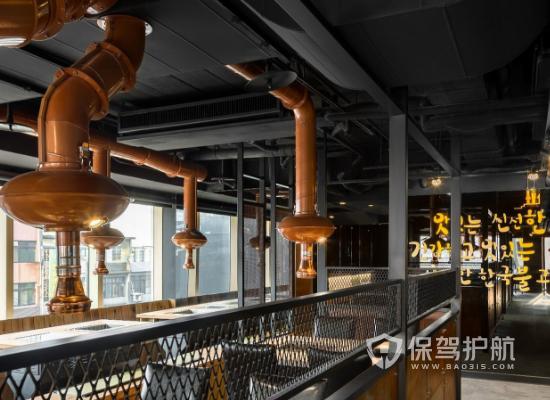 韩式工业风格烧烤店吊顶装修效果图