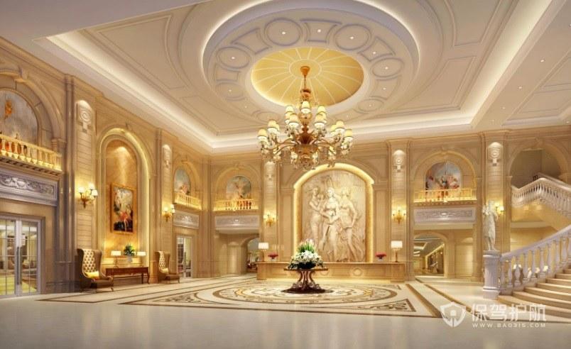 法式轻奢风酒店大堂装修效果图