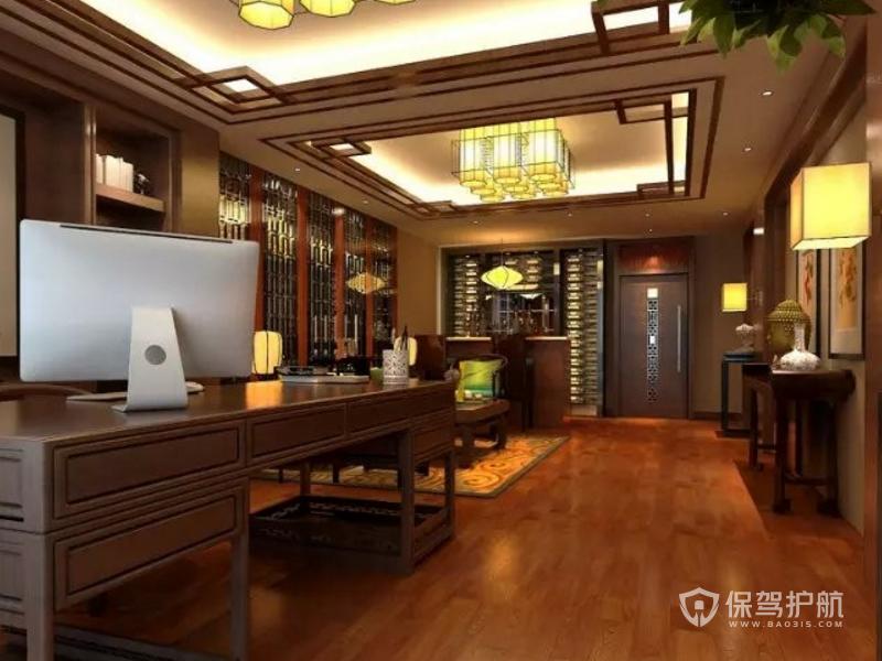中式领导办公室吊顶装修效果图