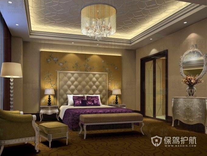 美式复古风酒店房间装修效果图