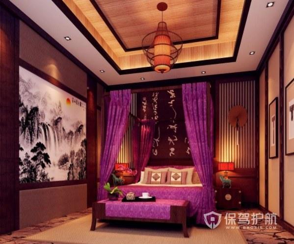 中式复古轻奢酒店房间装修效果图