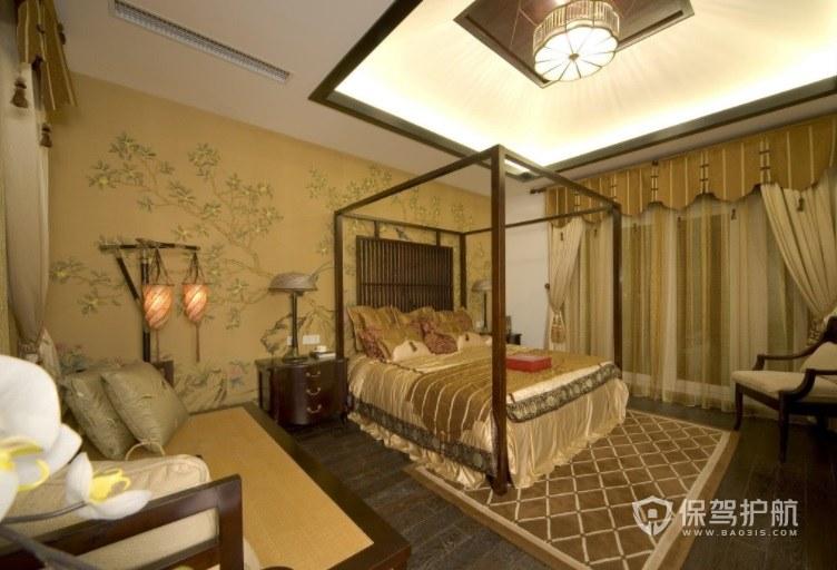中式经典简约酒店房间装修效果图