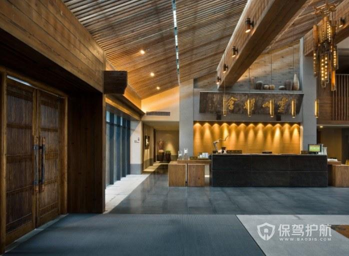 中式典雅创意酒店前台装修效果图