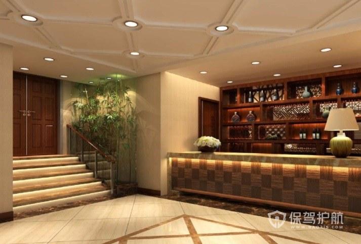 中式经典简约酒店前台装修效果图