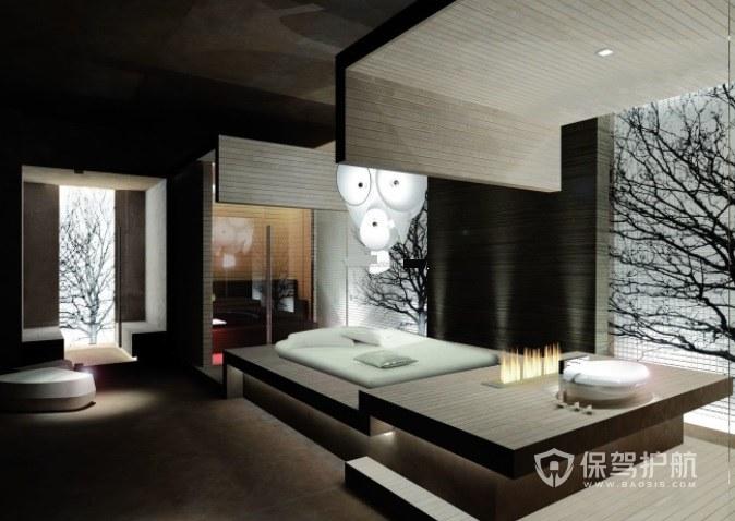 日式复古创意酒店房间装修效果图