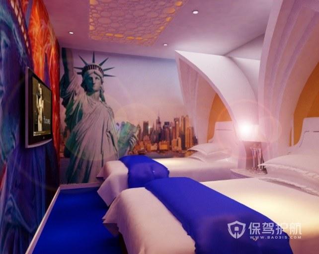 现代美式创意酒店房间装修效果图