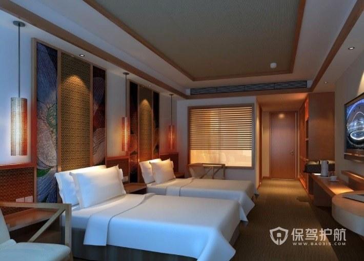 日式中国风酒店房间装修效果图