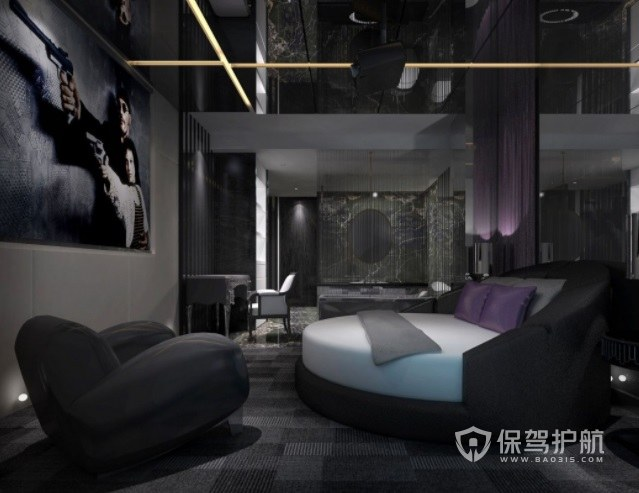 美式复古高级感酒店房间装修效果图