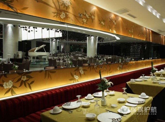 中式复古风餐厅墙面装修效果图