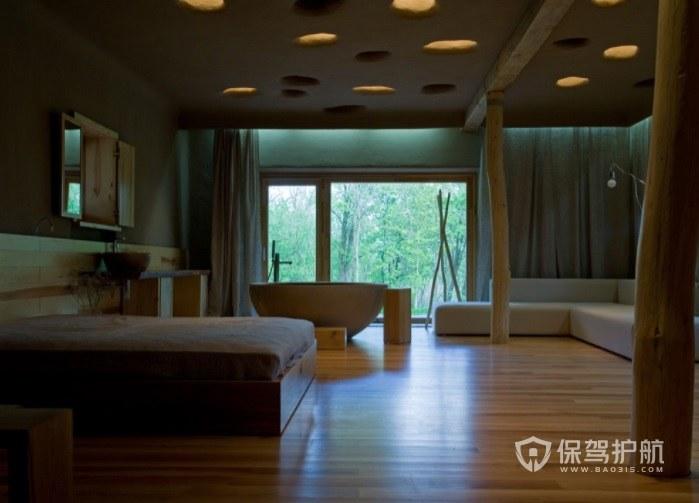 日式创意原木风酒店房间装修效果图