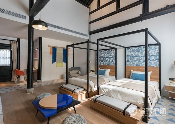 中式混搭日式创意酒店房间装修效果图