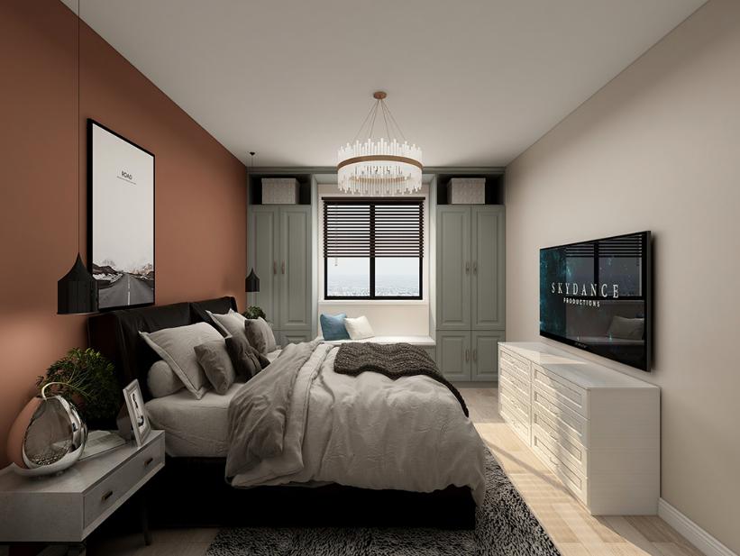 银河新城现代简约风格二居室装修效果图