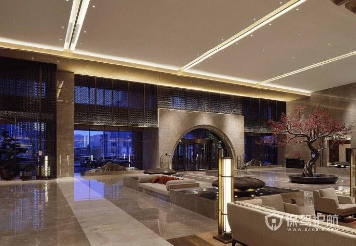 现代法式简约风酒店大堂装修效果图