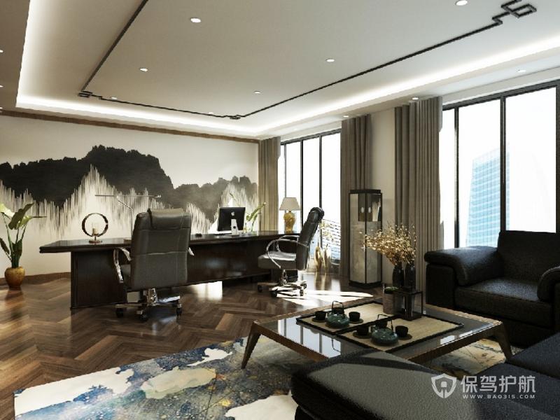 新中式领导办公室墙面装修效果图