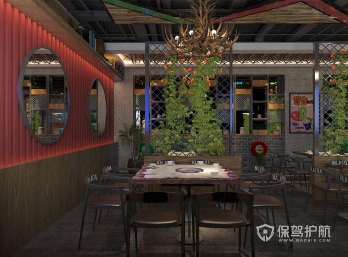 现代田园工业风餐厅装修效果图