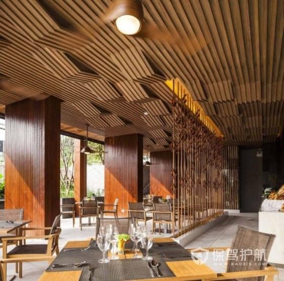 简欧创意原木风餐厅装修效果图