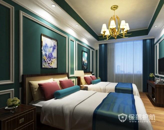 北欧风复古轻奢酒店双人房装修效果图