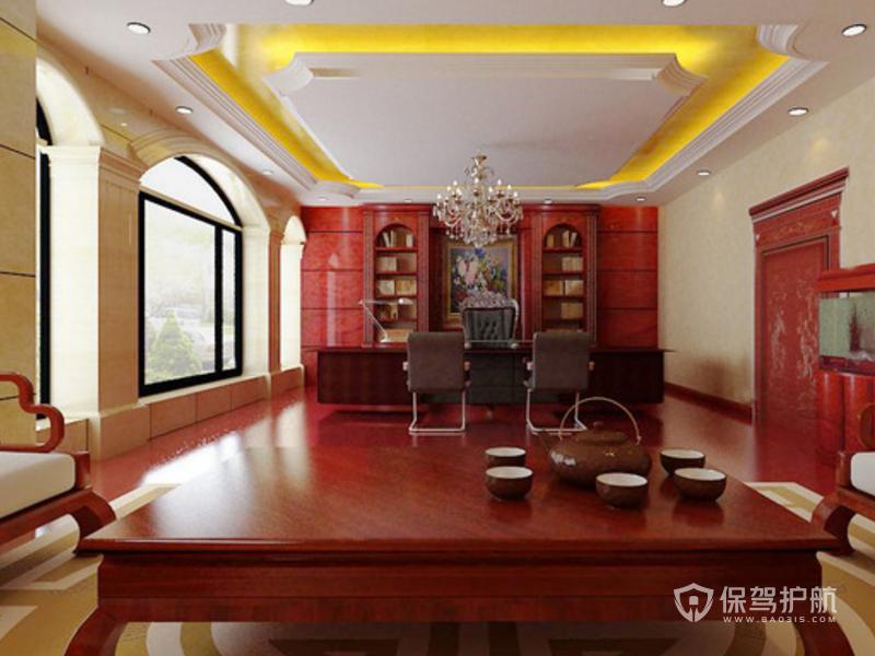 新中式办公室吊顶装修效果图