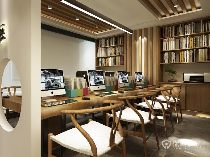 新中式办公区装修效果图