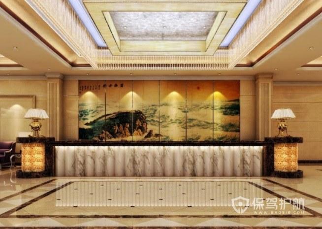 中式混搭欧式酒店前台装修效果图