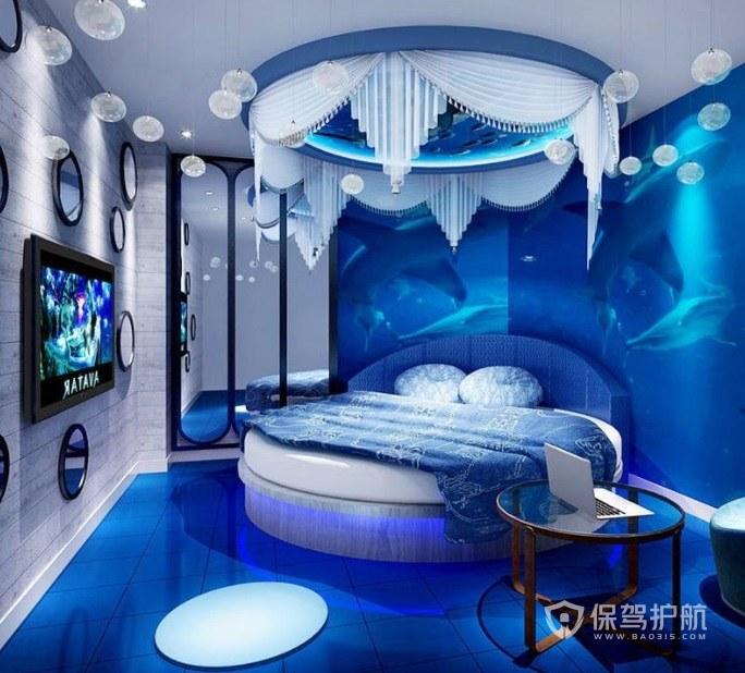 地中海创意海景风酒店房间装修效果图